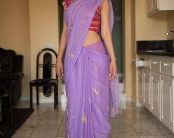 Lavender Sari with Gold Embroidery