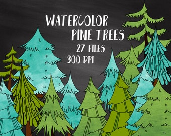 Watercolor Pine Trees Clipart, Commercial Use, Watercolor Forest Conifer Tree Clipart, Watercolor Christmas Trees, Woodland Nature Clipart