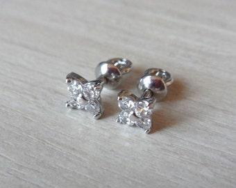 Silver stud earrings studs Clover