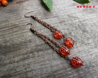 long fringe earrings chain Earrings red ladybugs insect Earrings Beaded Earrings dangle earrings Teen girl earrings Teen girl gift gift Idea
