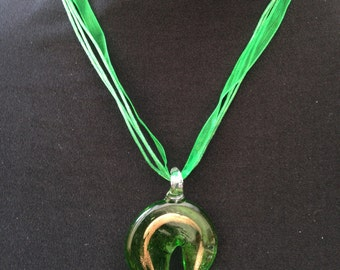 Green & Gold Murano Glass Pendant Necklace