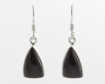 Black Onyx Earrings - Silver Earrings - Dangle & Drop Earrings -   Gemstone Earrings - Black Onyx Silver Earrings - Handmade   Earrings