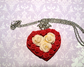 Red and ivory rose heart necklace -red jewelry - polymer clay necklace  - floral jewelry - flower jewelry - botanical jewelry