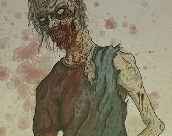 New! Zombie, ROTTEN, Art Print, Poster, Illustration, Undead