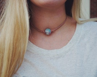 Custom Clay Bead Leather Choker - Bridesmaids Gift - Leather Necklace - Personalized Jewelry - Handmade - Girls Gift - Baked Clay - Beaded
