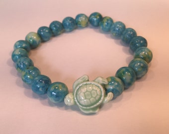 Blue and Green Beaded Turtle Bracelet