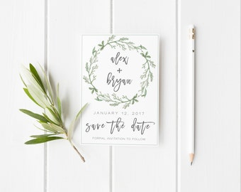 Save the Date Template,Save the Date Printable, Greenery Save the Date Printable,Green Save the Date Template, Green Save the Date Printable