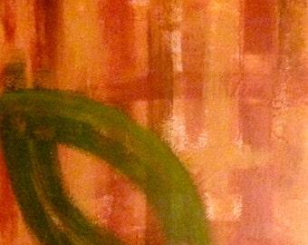 Orange Leaf acrylic painting on 16x20 canvas