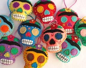 Day of the Dead Felt Ornament - Frida Kahlo Skull