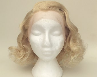 Blonde 1930's Style Countess Finger Waved  Lace Front Synthetic Wig