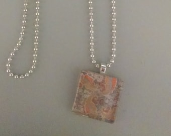 SALE - Gray and Orange Paisley Glass Tile Necklace
