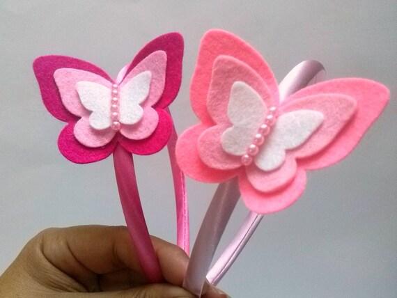 Luz diadema diadema de mariposa rosa fieltro diadema rosa - Material para hacer diademas ...