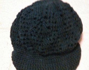 crocheted hat with brim forest green adult hippie