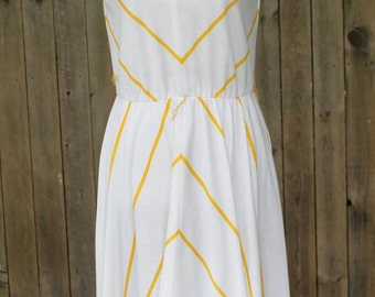 Summer 1980s Yellow-Striped Dress-- End of Summer Sale 40% off