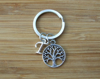 Tree Keychain, Initial Keychain, Family Tree Personalized Accessories, Bag and Purse Accessories
