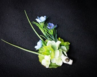 Assorted Green and Blue Flower Hair Clip