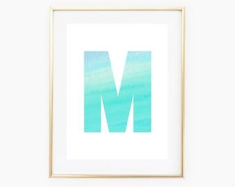 Blue Watercolor Monogram, M Monogram, M First Initial Printable Art, Custom Initial Print, Nursery Wall Art, Office Art, Blue Nursery Art