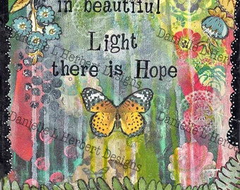 Mixed Media Collage Art Giclee Print - Hope