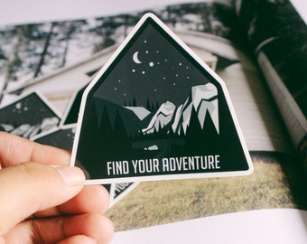 Find Your Adventure Sticker | Wilderness Edition | Mountains | Forests | Lake | Adventure Sticker | Travel Gift | Gift for Her and Him