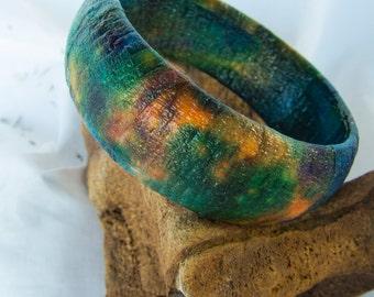 Handmade Bangle Bracelet.  Unique colors and texture.