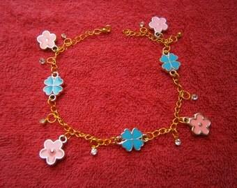 pink & blue ankle four leaf clover  chain bracelet