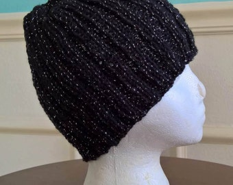 Ribbed Beanie~Jet Black with Silver Sparkles