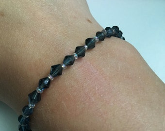 Navy Blue and Clear Seed Bead Bracelet