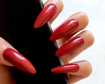 XL Red Stiletto Fake Nails - Kitten Claws - Extra Long Stiletto Nails - Glue On - Press-On Gel Nails - Drag Queen Nails - Great for Gifts