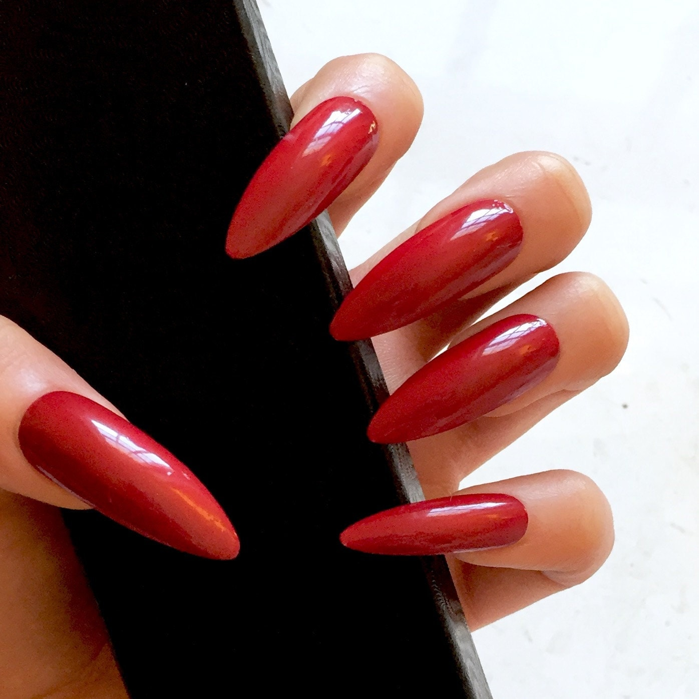 Red Stiletto Nails: XL Red Stiletto Fake Nails Kitten Claws Extra Long