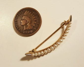 14k Gold Victorian Crescent Moon Seed Pearl Pin / Brooch Edwardian Antique