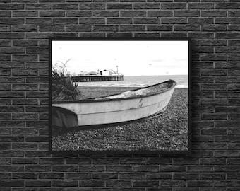 Boat Photo - Wooden Boat - Seaside Photo - Coast - Nautical Photo - Black and White - Sea Wall Art - Nautical Wall Decor - Beach House Decor