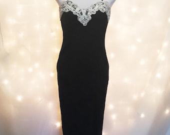 Vintage Prom Dress - Vintage Little Black Dress - Black & White Brocade Gown - Spaghetti Strap Cami Prom Dress - Petite Long Dress - LBD
