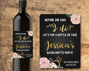 BACHELORETTE PARTY WINE Labels, Party, Gift, Favors Pop a Bottle