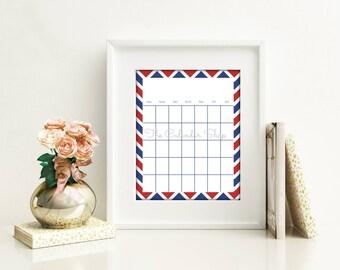 Printable Calendar Template, Monthly Calendar, Planner Insert, Red and Blue Chevron Design