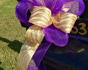 Purple and Gold Mailbox Bow