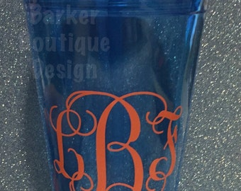 Personalized Tumbler with Straw - Vine or Circle Monogram