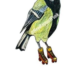 Funny Fowl Birds A5 Fine Art Print Roller-Blading Great Tit