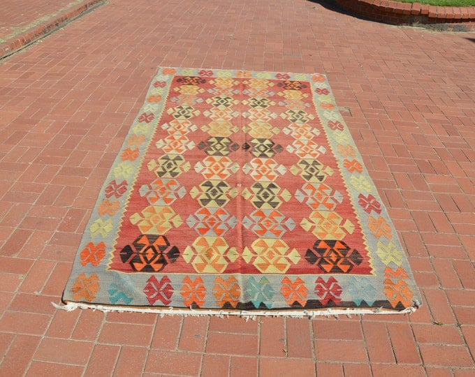 bohemian rug, turkish kilim rug, boho decor, floor rug, pattern rug, kilim ottoman, turkish rug, vintage turkis rug, bohemian furniture