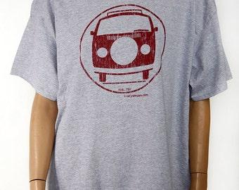 VW Bus Adult size X/LRG Gray/Maroon t-shirt.