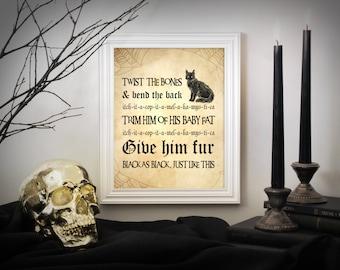 Hocus Pocus Spell Art Print, Halloween Decor, Halloween Art, Halloween Printable Decor, Halloween Poster, Twist The Bones And Bend The Back
