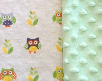 Personalized Baby Blanket, Owl Baby Blanket or Lovey, Minky Baby Blanket,  Custom Made Blanket - You Choose the Color!