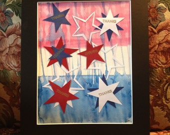 """THANKS Stars and Stripes Red White Blue 11""""x14"""""""