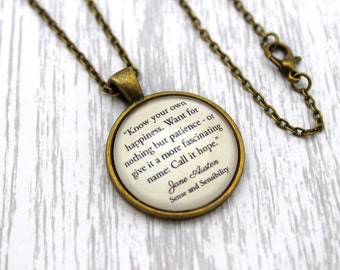 Jane Austen, 'Call It Hope', Sense and Sensibility Quote Necklace or Keychain, Keyring.