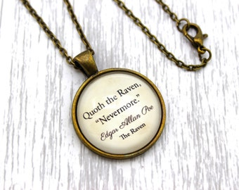 "Edgar Allan Poe, 'Quoth The Raven, ""Nevermore""', The Raven Quote Necklace or Keychain, Keyring."
