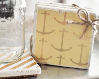 Anchor's Away! Coasters - Nautical Gold Stripes