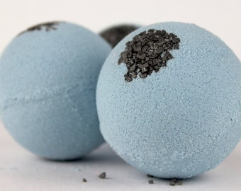 Touch of Gray Bath Bomb - handmade foaming bath fizzy with lavender and patchouli