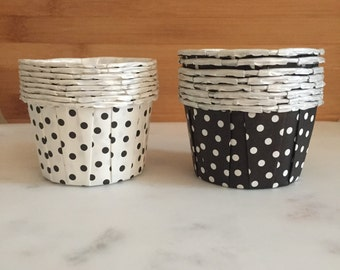 White and Black Polka Dot Nut Cups, Standard Sized, Nut Cups (16)