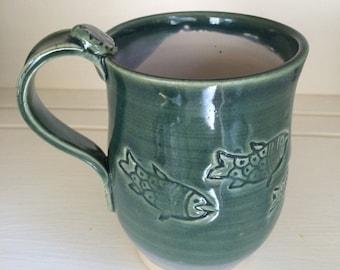 Personalized Hand Thrown Clay Mug With Your Name On It, Handmade Coffee Mug, Stoneware, Pottery Mug, Tea Mug, Green Glaze