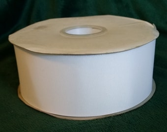 2 1/4 Inch White Grosgrain Ribbon, 50 yards