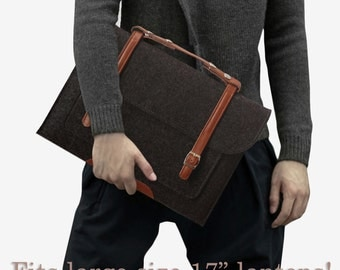 Briefcase Style Cashmere Laptop / Macbook Sleeve Bag